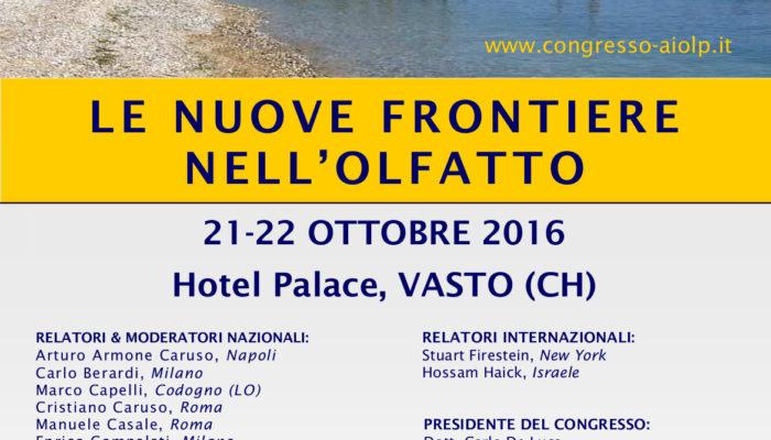XV Congresso AIOLP LE NUOVE FRONTIERE DELL'OLFATTO Marina di Vasto (CH) Locandina